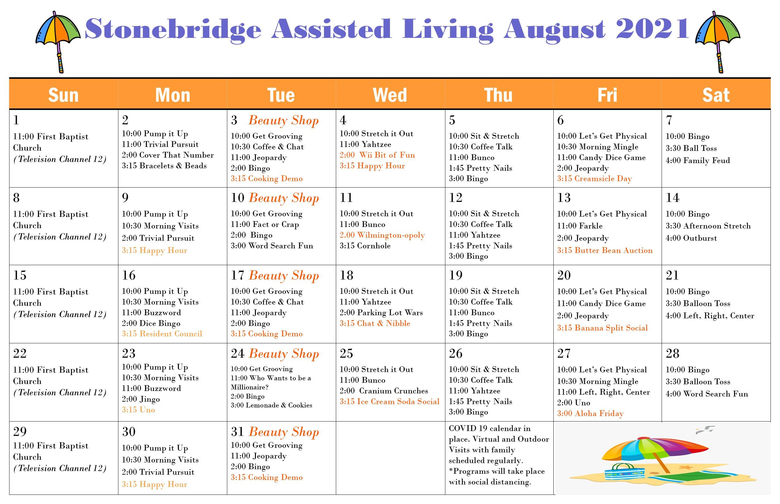 Stonebridge August 2021 Events Calendar
