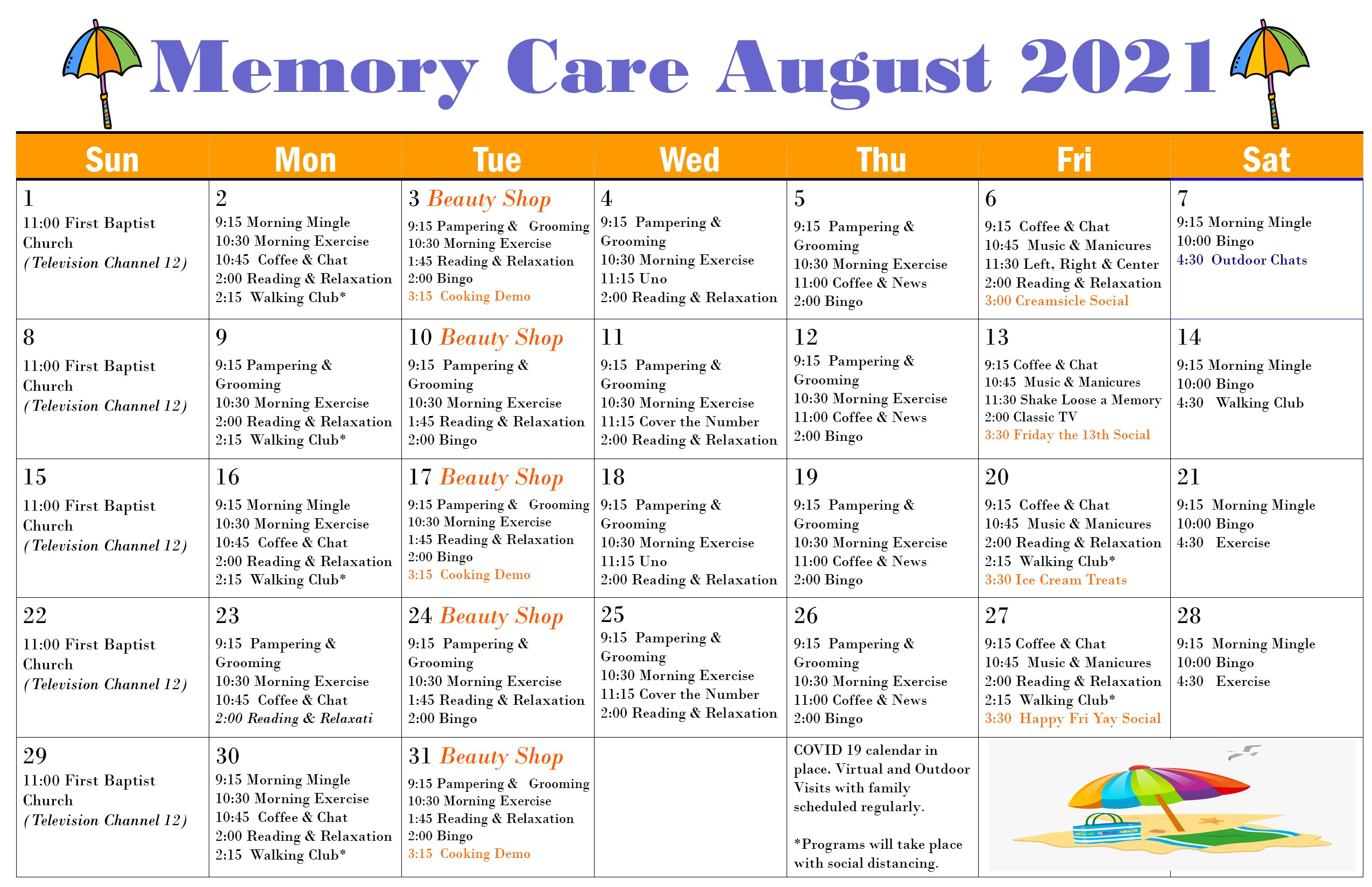 Memory Care August 2021 Events Calendar